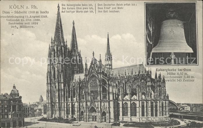 Kirchenglocken Kaiserglocke Koeln Dom Gedicht Spruch  Kat. Gebaeude