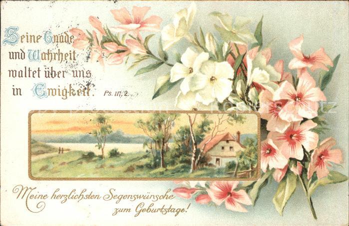 Gedicht auf AK Kirche Blumen Geburtstag Kat. Lyrik