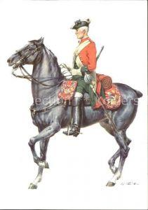 Militaria Uniformen Koenigreich England 1742 Dragoner Kuenstlerkarte Kat. Uniformen