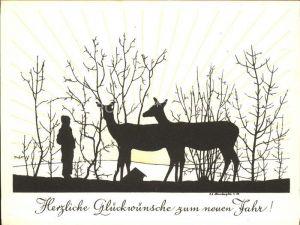 Scherenschnitt Schattenbildkarte Neujahr Glueckwuensche / Besonderheiten /