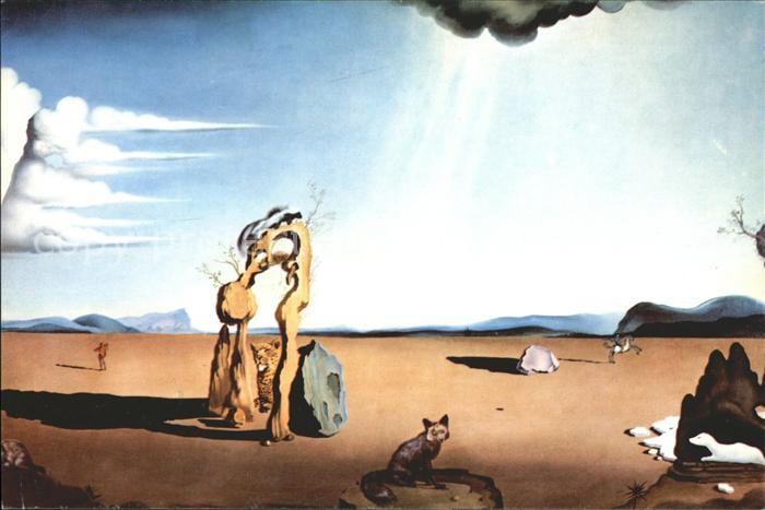 Kuenstlerkarte Salvador Dali Nude in the Desert Kat. Kuenstlerkarte