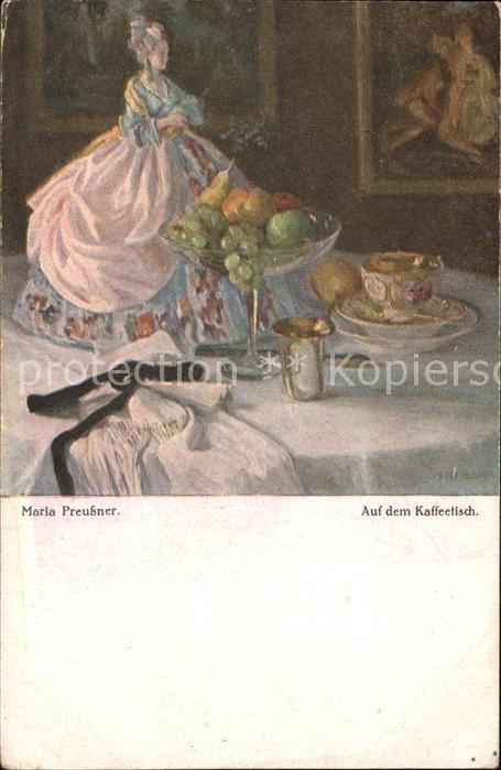Kuenstlerkarte Maria Preutsner Auf dem Kaffeetisch Kat. Kuenstlerkarte
