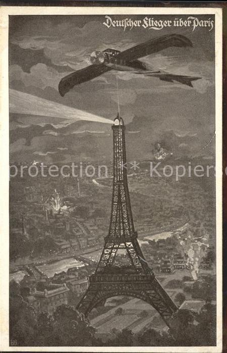 Flugzeuge Militaria Deutscher Flieger Paris Eiffelturm Kat. Flug