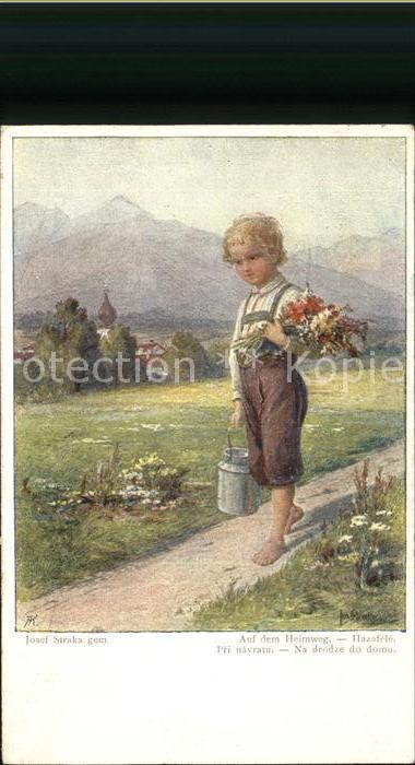 Kuenstlerkarte Josef Straka Auf dem Heimweg Kat. Kuenstlerkarte