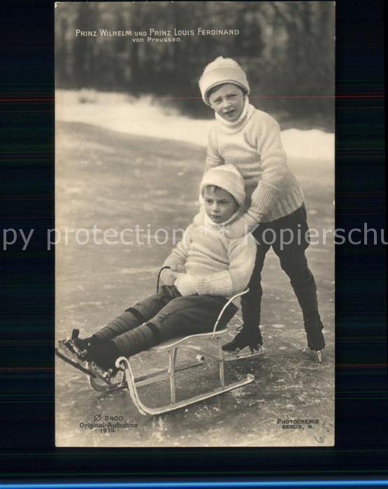Schlittschuhlaufen Eislaufen Prinz Wilhelm Prinz Louis Ferdinand von Preussen Kat. Sport