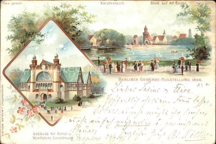 Ak Berlin Gewerbe Ausstellung 1896 Karpfenteich Blick