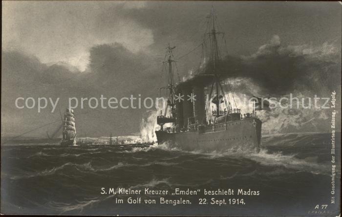 Marine WK1 S.M. Kleiner Kreuzer Emden Madras Golf von Bengalen  Kat. WK1
