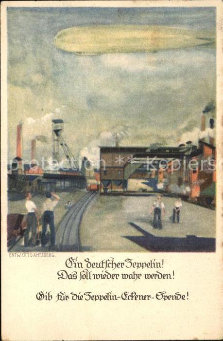 Zeppelin Zeppelin Eckener Spende Kuenstlerkarte Otto Amisberg Kat. Flug