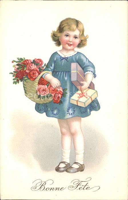 Kinder Child Enfants Bonne fete Rosen Geschenke Korb  Kat. Kinder