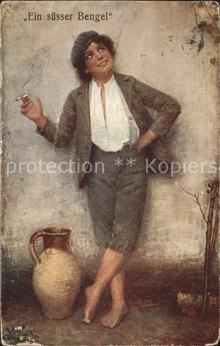 Kuenstlerkarte Jos Zenisek Dolce far niente Nr. 176 Junge Bengel Zigarette  Kat. Kuenstlerkarte