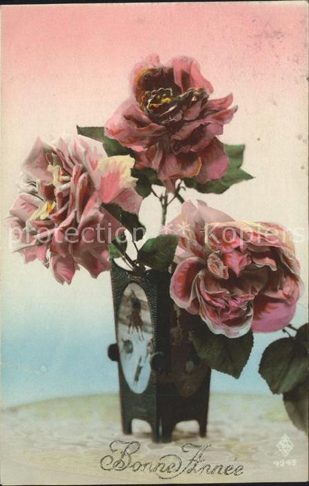 Rosen Bonne Annee Neujahr  Kat. Pflanzen