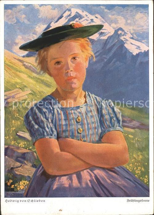 Kuenstlerkarte Hedwig von Schlieben Fruehlingssonne  Kat. Kuenstlerkarte