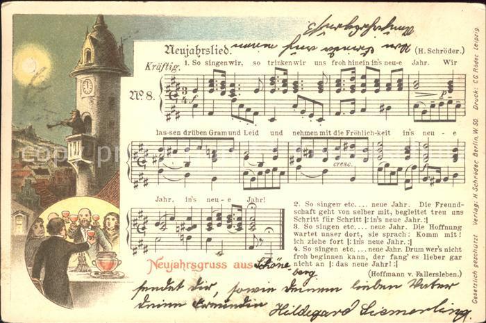 Liederkarte Neujahrsgruss Litho Kat. Musik