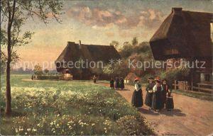 Hoffmann Heinrich Sonntag Morgen Nr. 174 Schwarzwaldhaeuser Trachten Kat. Kuenstlerkarte
