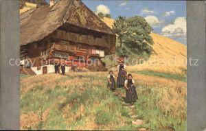 Liebich C. Sommer Sonntagsstimmung Schwarzwaldhaus Tracht Kat. Kuenstlerlitho