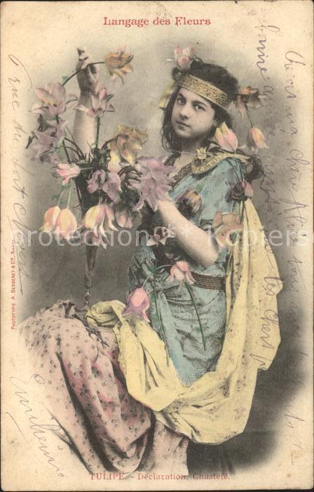 Blumen Bluemensprache Tulpen Frau Langage des Fleurs Tulipe Declaration Chastete  Kat. Pflanzen
