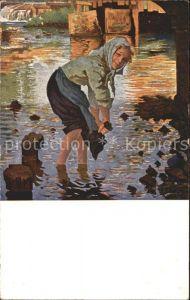 Kuenstlerkarte F. W. Scholtz Das nasse Roeckerl Senftenberger Krone Brikett Serien Kat. Kuenstlerkarte