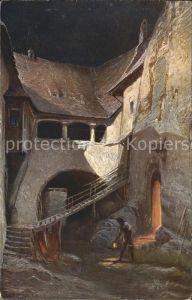 Kuenstlerkarte Franz Bukacz Nacht Senftenberger Krone Brikett Serien Kat. Kuenstlerkarte
