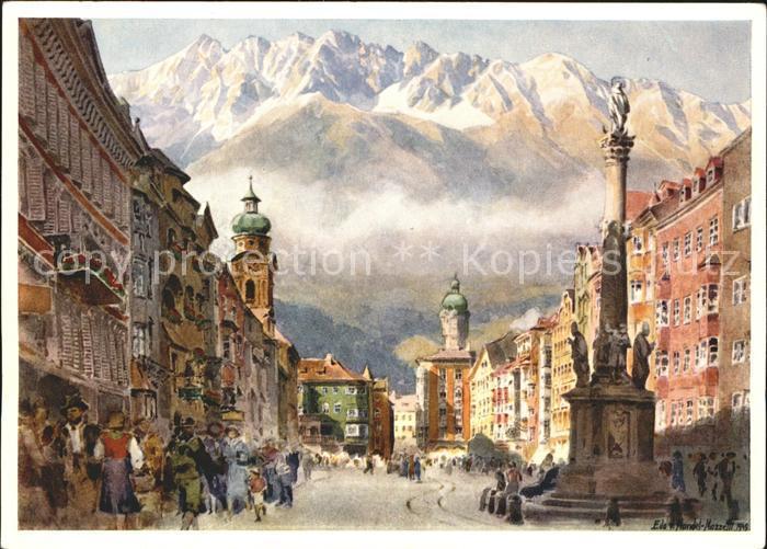 Kuenstlerkarte Edo v. Handel Mazzetti Nr. 5 Innsbruck Maria Theresienstrasse mit Nordkette  Kat. Kuenstlerkarte