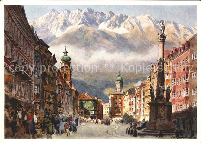 Kuenstlerkarte Edo v. Handel Mazzetti Nr. 5 Maria Theresienstrasse mit Nordkette Innsbruck Kat. Kuenstlerkarte