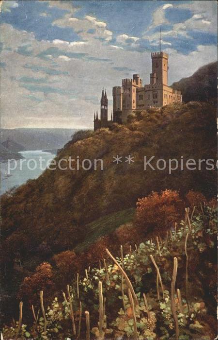 Hoffmann Heinrich Schloss Stolzenfels Heidelberg Nr. 9 Kat. Kuenstlerkarte