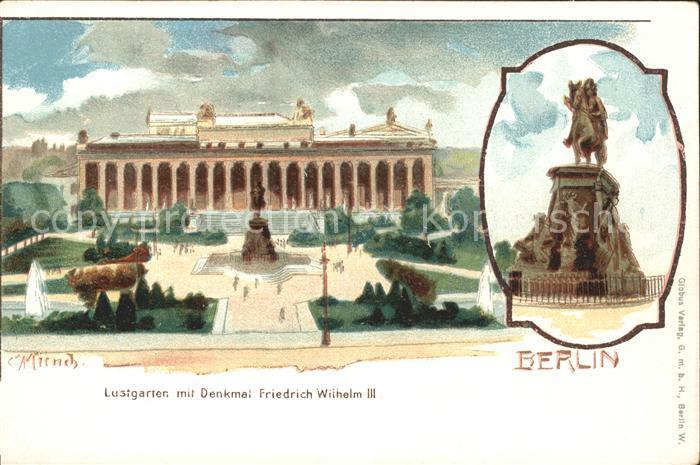 Muench C. Berlin Lustgarten Denkmal Friedrich Wilhelm III Kat. Kuenstlerlitho