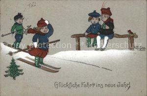 Skifahren Kinder Neujahr Kuenstlerkarte Carl Diehl  Kat. Sport