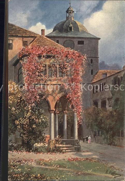 Hoffmann Heinrich Heidelberg Schlosshof Brunnenhalle Wartturm Nr. 465 Kat. Kuenstlerkarte