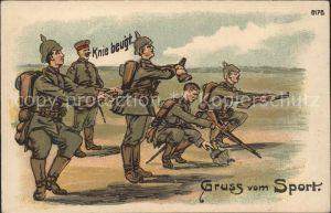 Sport Soldaten Kniebeugen Litho Kat. Sport