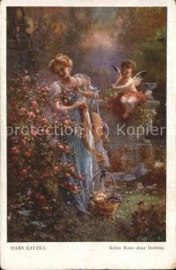 Zatzka H. Nr. 777 Keine Rose ohne Dornen Engel Blumen Frau  Kat. Kuenstlerkarte