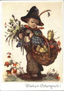 Hummel Nr. 5206 Ostern Kind Kueken Korb Blumen Kat. Kuenstlerkarte