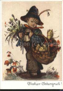 Hummel Nr. 5206 Ostern Kueken Korb Blumen Kind  Kat. Kuenstlerkarte