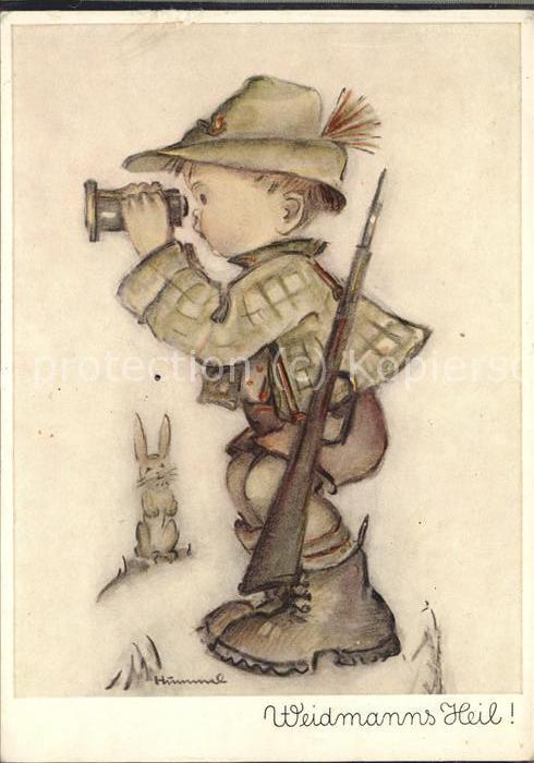 Hummel Nr. 5616 Kind Jaeger Jagd Fernglas Hase Gewehr  Kat. Kuenstlerkarte