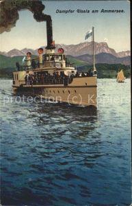 Dampfer Binnenschifffahrt Dampfer Gisela Ammersee Kat. Schiffe