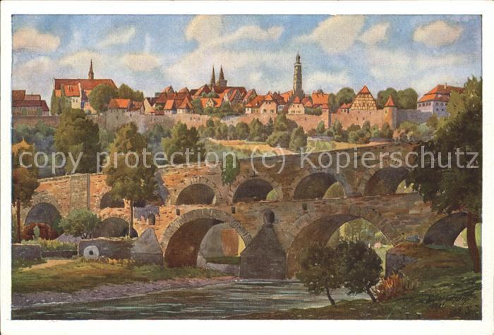 Marschall Vinzenz Rothenburg ob der Tauber Doppelbruecke  Kat. Kuenstlerkarte
