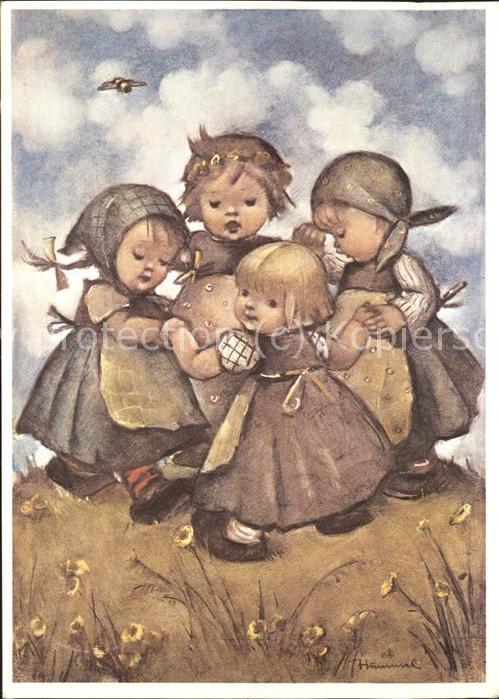 Hummel Nr. 62.1204 Kinder Ringelreihen Kat. Kuenstlerkarte