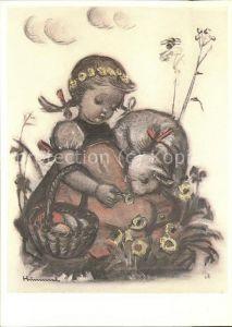 Hummel Nr. 62.1375 Ostern Kind Schaf Blumen Kat. Kuenstlerkarte