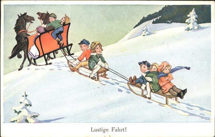 Schlitten Schnee Pferdeschlitten Kinder  Kat. Sport