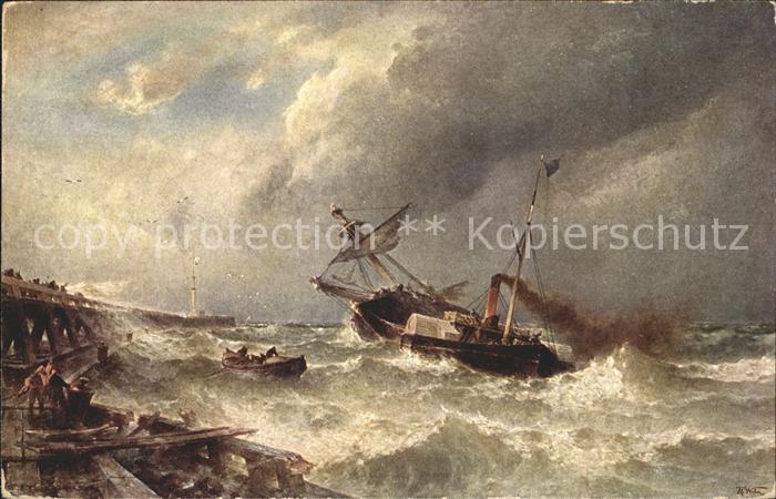 Kuenstlerkarte Th. Weber Nach dem Sturm Nr. 57 Dampfer  Kat. Kuenstlerkarte