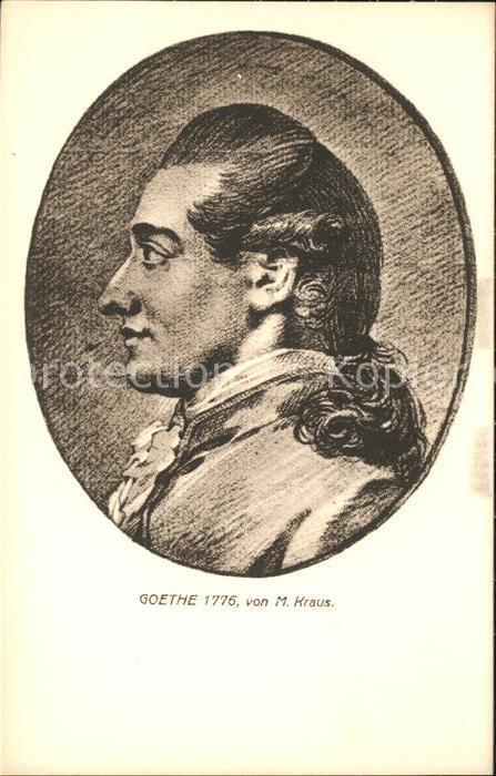Goethe Johann Wolfgang von Portrait Goethe 1776 M. Kraus Kat. Dichter