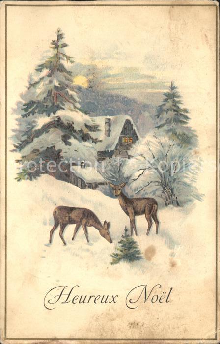 Glueckwunsch Weihnachten Rehe Winterlandschaft Kat. Greetings