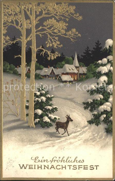 Weihnachten Hirsch Haeuser Winterlandschaft Kat. Greetings