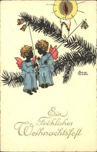 Petersen Hannes Weihnachten Kerze Glocken Engel  Kat. Kuenstlerkarte