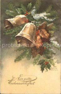 Petersen Hannes Weihnachten Glocken Stechpalmen Tannenzweige Kat. Kuenstlerkarte