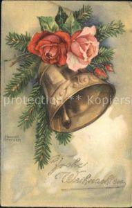 Petersen Hannes Weihnachten Glocke Rosen Tannenzweig Kat. Kuenstlerkarte