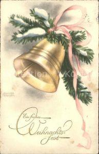 Petersen Hannes Weihnachten Glocke Tannenzweig Schleife Kat. Kuenstlerkarte