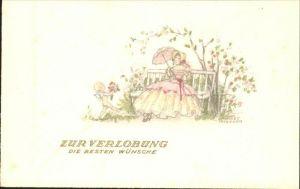 Petersen Hannes Verlobung Frau Sonnenschirm Blumen Engel Kat. Kuenstlerkarte