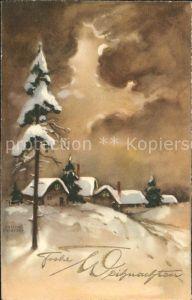 Petersen Hannes 4494 Weihnachten Dorf Tannenbaum Winterlandschaft Kat. Kuenstlerkarte