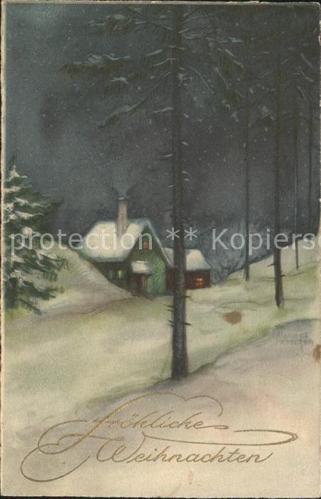 Petersen Hannes 4167 Weihnachten Haeuser Winterlandschaft Kat. Kuenstlerkarte