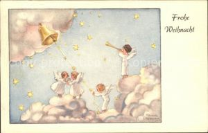 Petersen Hannes Weihnachten Engel Glocke Wolken Sterne Kat. Kuenstlerkarte